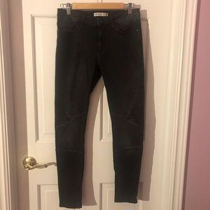 Zara Black Skinny Moto Jeans EUC